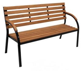 3-Sitzer Gartenbank aus Eukalyptus Holz und Metall 160 cm