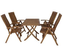 Klappbare Gartengarnitur Sitzgruppe 5-teilig aus Akazienholz