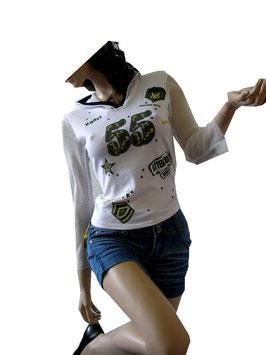 Sportlicher Pulli mit Netz und trendigem Print