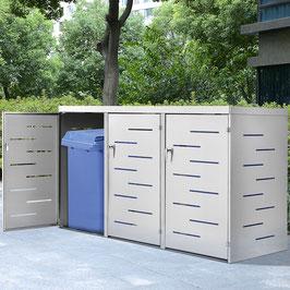 3er Edelstahl Mülltonnenbox mit Schiebedach und verschließbaren Türen