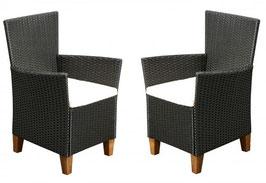 2 Stück Polyrattan Sessel in schwarz