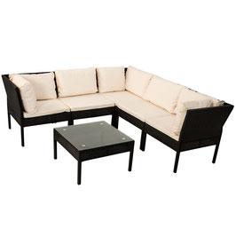 Polyrattan Gartenmöbel Sitzgruppe Ecksofa in schwarz