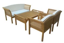 Lounge Set 4-teilig aus Eukalyptusholz