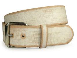 Massiver ölgegerbter Gürtel aus echtem Leder Used Look braun-weiß 100 cm