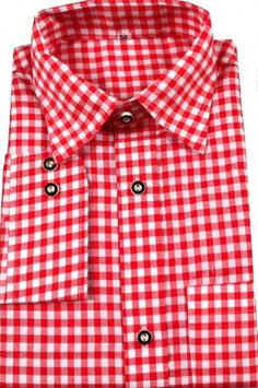 Trachtenhemd kariert Langarm in rot