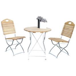 Klappbare Garnitur Sitzgruppe 3-teilig Holz Robinie Gestell verzinkt