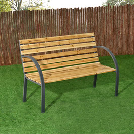 2 Sitzer Gartenbank aus lackiertem Holz und Stahl