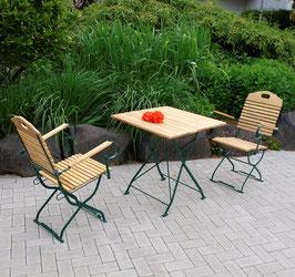 Klappbare Garnitur Sitzgruppe 3-teilig Holz Robinie Gestell dunkelgrün