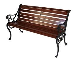 Gartenbank  2-Sitzer, Gusseisen schwarz, Hartholz mahagonifarben