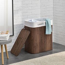Wäschekorb Wäschetruhe aus Bambus Farbe in braun 100 Liter