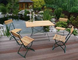 Klappbare Garnitur Sitzgruppe 5-teilig Holz Robinie Gestell dunkelgrün