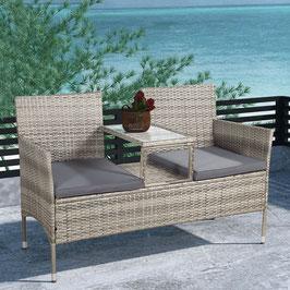 Polyrattan Gartenbank mit Mitteltisch in grau-meliert 133 cm