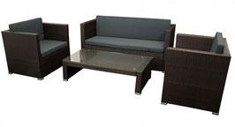 Polyrattan Gartenmöbel  Lounge Sitzgruppe braun für vier Personen