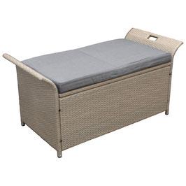 Polyrattan Gartentruhe gartenbox für Auflagen mit Sitzkissen