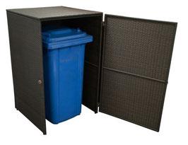 Polyrattan Mülltonnenbox Mülltonne bis 120 Liter Farbe mocca