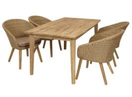 Polyrattan Lounge Gartengarnitur naturfarben mit taupefarbenen Bezügen