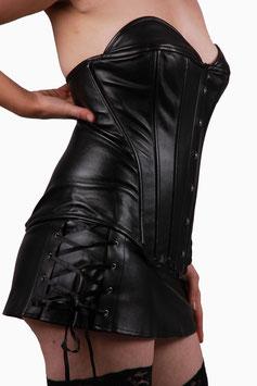 Korsage mit Minirock in schwarz Leder-Optik