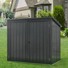 Metall Mülltonnenbox in grau mit zwei Türen für zwei Mülltonnen bis zu 240 Liter