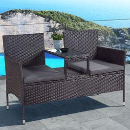Polyrattan Gartenbank mit Mitteltisch in schwarz 133 cm