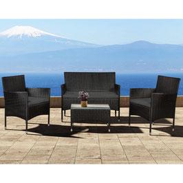 Polyrattan Sitzgruppe Gartengarnitur für vier Personen in schwarz
