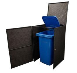 Polyrattan Mülltonnenbox Mülltonne bis 240 Liter Farbe mocca