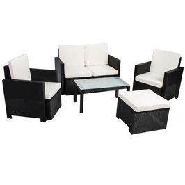 Polyrattan Gartenmöbel Sitzgruppe 5-teilig in schwarz