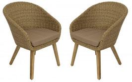 2 Stück Gartensessel Sessel Polyrattan in naturfarben