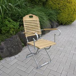 Gartenstuhl mit Armlehnen Holz Robinie Gestell verzinkt klappbar