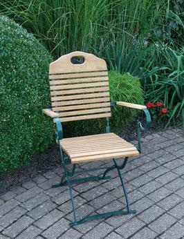 Gartenstuhl mit Armlehnen Holz Robinie Gestell dunkelgrün klappbar