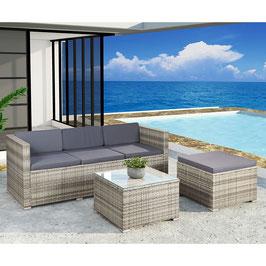 Polyrattan Lounge grau-meliert mit dunkelgrauen Bezügen