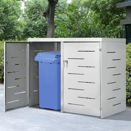 2er Edelstahl Mülltonnenbox mit Schiebedach und verschließbaren Türen
