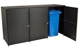 3er Polyrattan Mülltonnenbox Mülltonne bis 240 Liter Farbe mocca