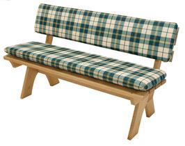 Auflagenset Polster 2-teilig für 2-Sitzer Gartenbank grün/beige kariert 120 cm
