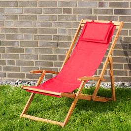 Relax Sonnenliege Akazien Holz verstellbar in rot