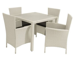 Polyrattan Gartenmöbel     Essgruppe Sitzgruppe weiß für vier Personen