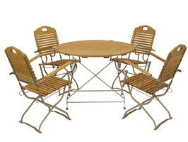 Klappbare Sitzgruppe aus Holz Robinie 5-teilig Gestell verzinkt