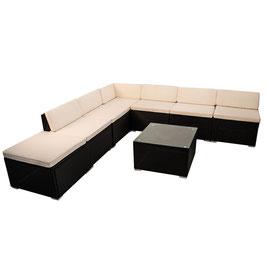 Polyrattan Gartenmöbel Sitzgruppe Ecksofa + Ergänzungsset in schwarz