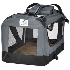 faltbare Hundetransportbox in dunkelgrau 42 x 60 x 44 cm