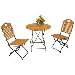 Klappbare Garnitur Sitzgruppe 3-teilig Holz Robinie Gestell in dunkelgrün