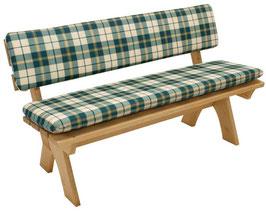 Auflagenset Polster 2-teilig für 3-Sitzer Gartenbank grün/beige kariert 150 cm