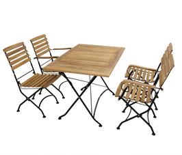 Sitzgruppe Holz Teak 5-teilig Gestell Flachstahl schwarz