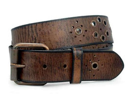 Echter Ledergürtel mit Nieten im used look in barun-schwarz 110 cm