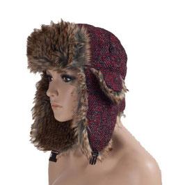 Wintermütze Mütze in schwarz-rot Größe 58