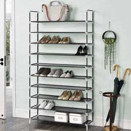 Schuhregal mit zehn Ebenen für 50 Paar Schuhe