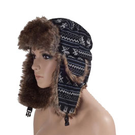 Wintermütze Fliegermütze in schwarz-grau Größe 60