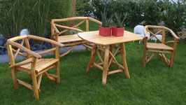 Knüppelholz Garnitur Sitzgruppe 4teilig                Eiche + Buche