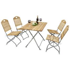 Klappbare Garnitur Sitzgruppe 5-teilig Holz Robinie Gestell verzinkt