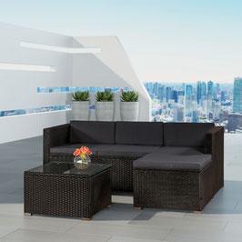 Polyrattan Lounge/Sitzgruppe in schwarz/dunkelgrau