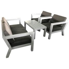 Lounge Garnitur Gartengarnitur aus Aluminium in weiß