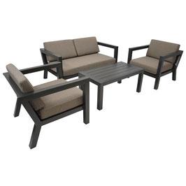 Lounge Garnitur Gartengarnitur aus Aluminium in dunkelgrau